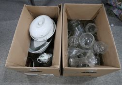 Two boxes of assorted ceramics and glass Provenance: The Late Dr Helen. E. C. Cargill Thompson