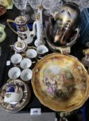 A Baroness China bowl painted with fruit and a scene of travellers, a Noritake coffee set with