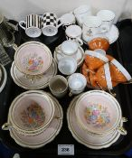Six Foley cups and saucers with floral bouquets and assorted coffeewares Condition Report: Not