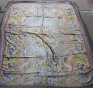 Two woven Eastern table covers, one with figures and camels Condition Report: