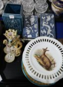 A Cantagalli style grotesque creature candlestand, a Bretby vase, a pair of Chinese ceramic boxes, a