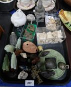 An Opium weight, ivory figures and horses, netsukes etc Condition Report: Not available for this