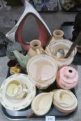 A stylized Italian ceramic vase, Bunnykins nursery ware and other ceramics Condition Report: Not