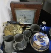 A Doulton blue and gilt pot and cover, a oak framed barometer, brass kettle etc Condition Report: