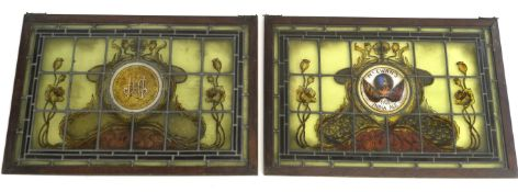 TWO PUB ADVERTISING STAINED AND LEADED GLASS WINDOWS for McEwans Indian Pale Ale, painted with The