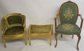 A FRENCH GILTWOOD FAUTEUIL the carved back rail with ribbon and gadrooning and with acanthus leaf