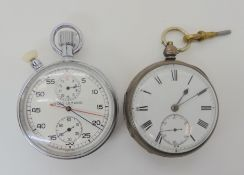 A SILVER CASED POCKET WATCH AND MILITARY NERO LEMANIA STOPWATCH hallmarked Birmingham 1883-4, the