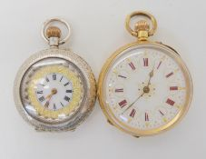 A DECORATIVE GOLD FOB WATCH TOGETHER WITH A SILVER EXAMPLE an 18k gold fob watch with white
