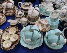 An Aynsley turquoise glazed teaset with floral decoration, antique Spode blue and gilt wares,