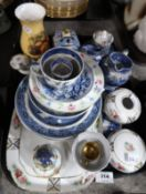 A lot comprising a blue ground floral and gilt decorated Noritake pot & cover along with similar