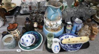 A lot comprising a Crown Devon blue glazed pitcher, a Handarbeit stoneware salt glazed decanter,