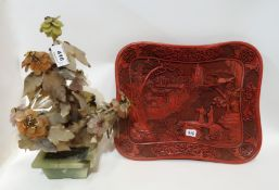A hardstone tree together with a cinnabar lacquer tray depicting buildings in a landscape