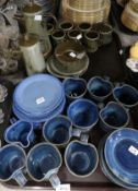 A lot comprising a Boulton green glazed coffee service, blue glazed studio pottery cups and