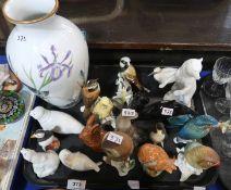 A lot comprising a Franklin Meadowland Bird vase by Basil Ede, porcelain models of animals including
