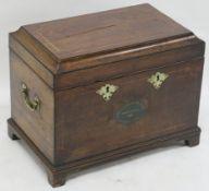 "A 19TH CENTURY MAHOGANY COAL BOX with painted panel ""ROYAL LANARK MILITIA STAFF FRIENDLY SOCIETY"