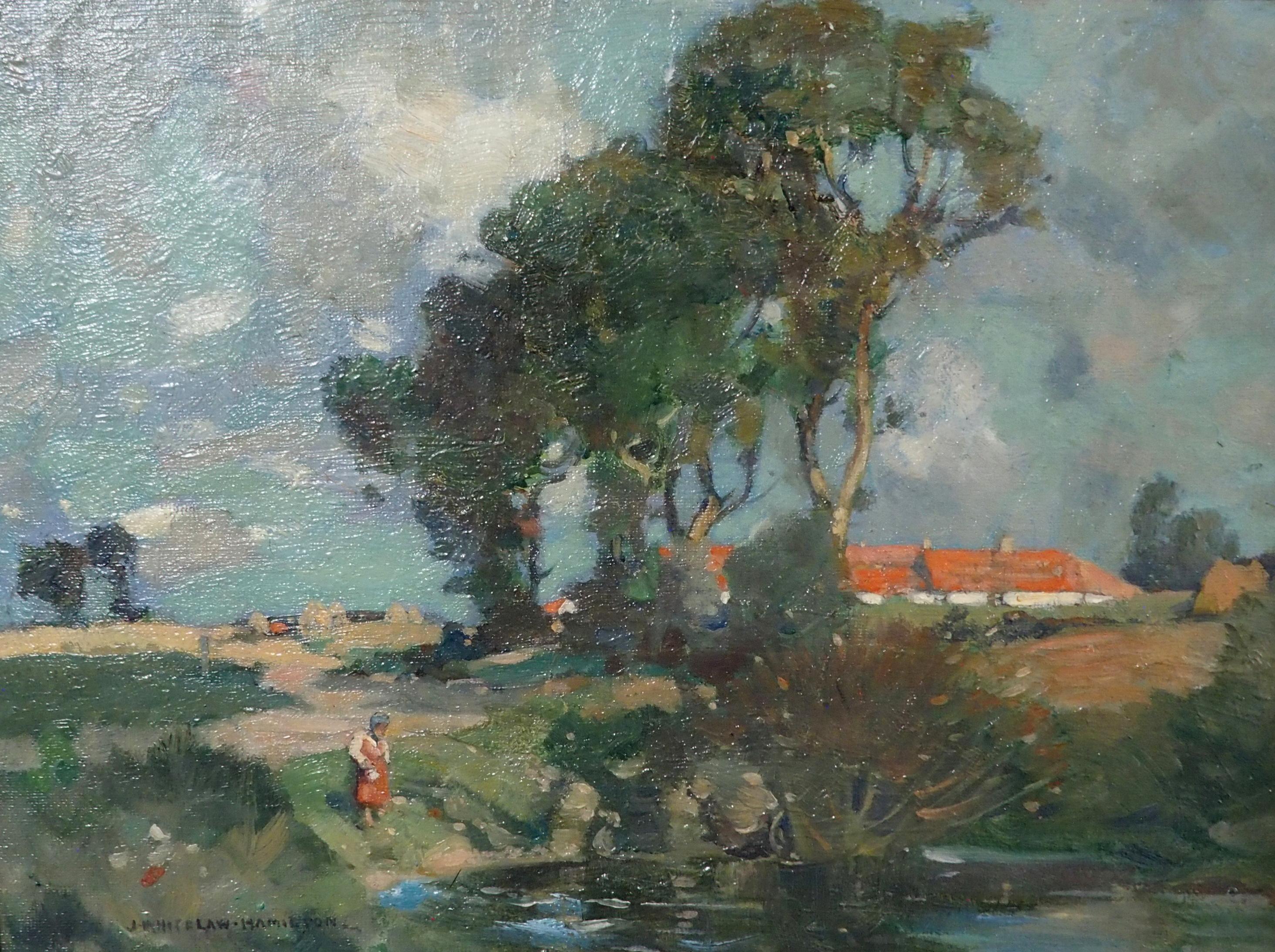 JAMES WHITELAW HAMILTON RSA, RSW (SCOTTISH 1860-1932) SUMMERTIME Oil on canvas board, signed, 23,5 x