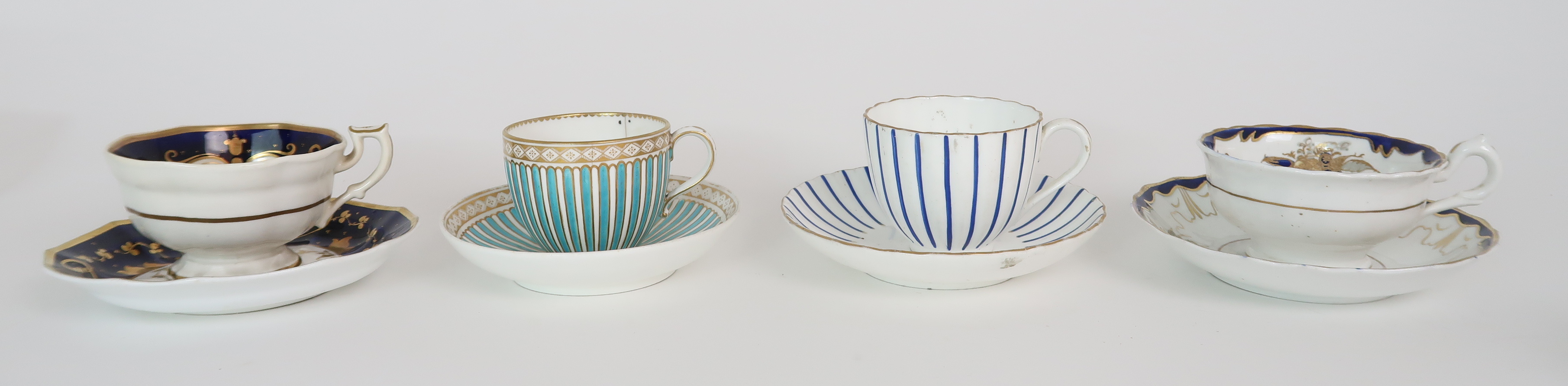 A COLLECTION OF 19TH CENTURY ENGLISH BLUE AND GILT DECORATED TEA AND COFFEE WARES including a - Image 2 of 23