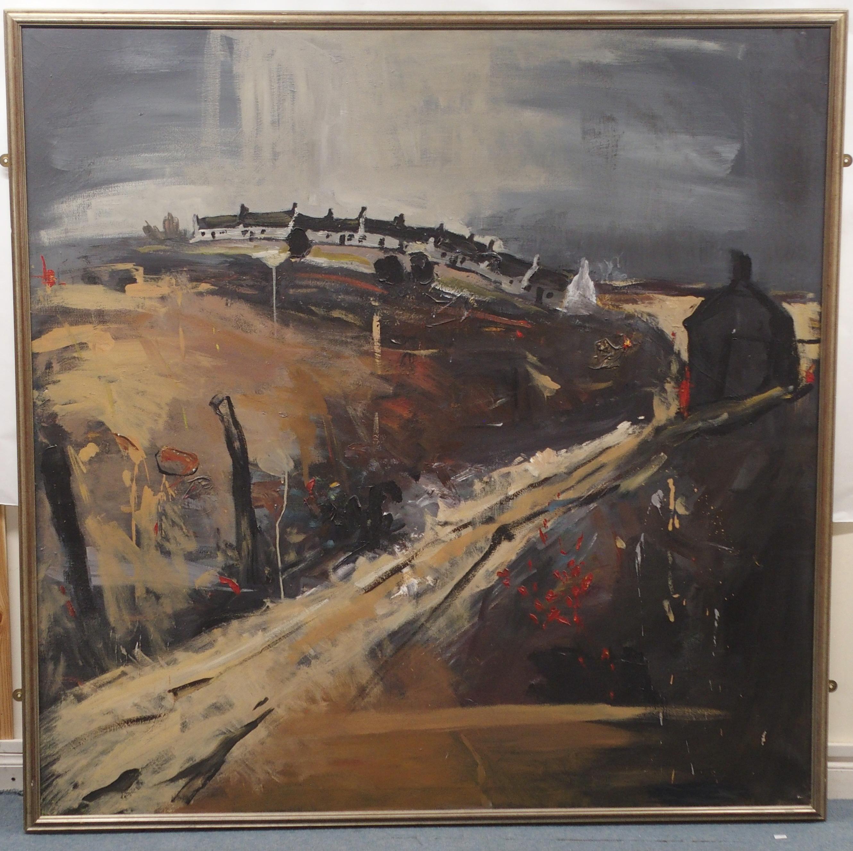 "SCOTTISH SCHOOL (20TH CENTURY) CATTERLINE IN AUTUMN Oil on canvas, 152 x 152cm (60 x 60"") - Image 2 of 3"