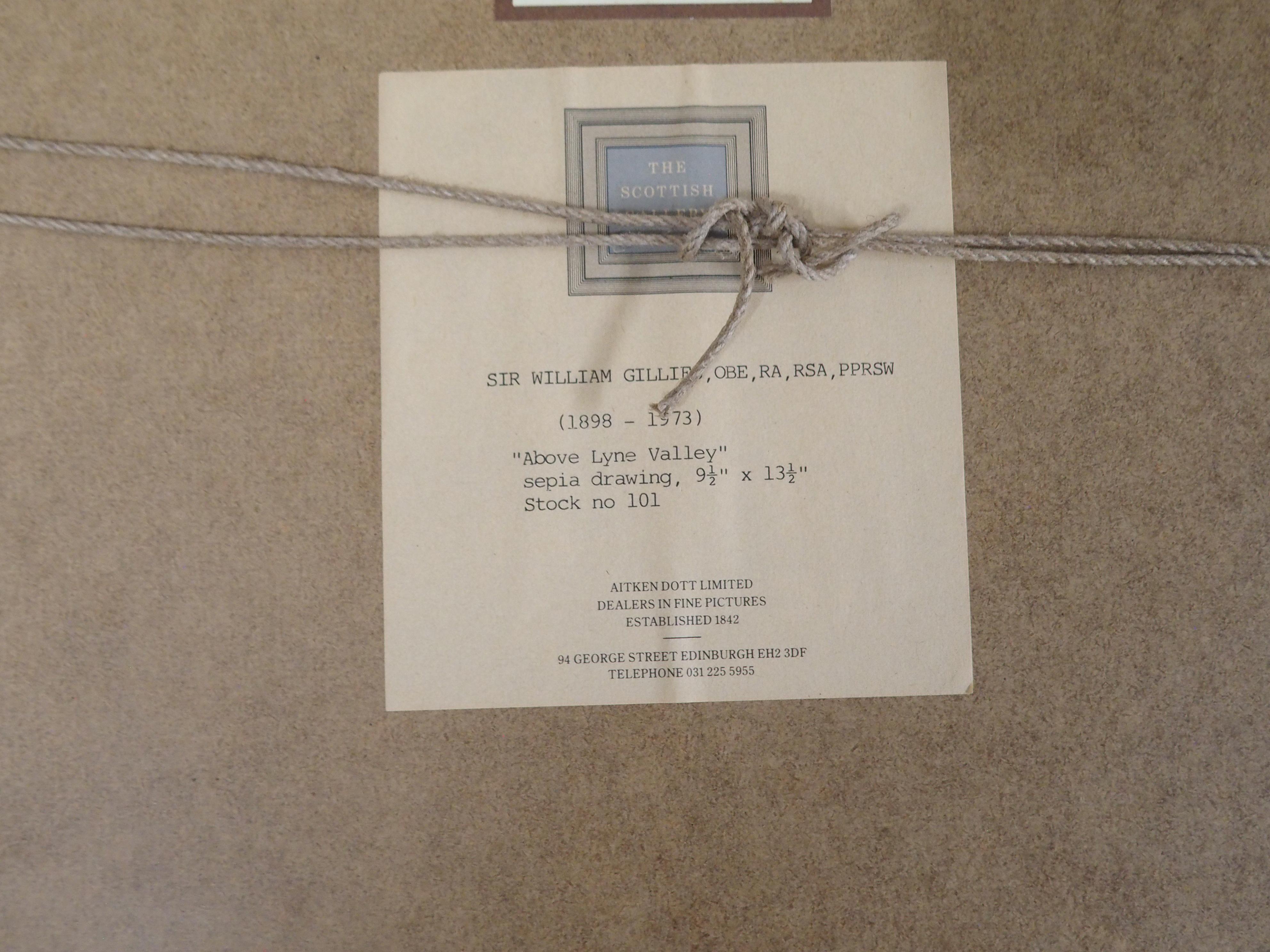 •SIR WILLIAM GEORGE GILLIES CBE, LLD, RA, RSA, PRSW (SCOTTISH 1898-1973) ABOVE LYNE VALLEY Pencil - Image 4 of 5
