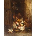 CLAUDE GUILLEMINET (FRENCH 1821-1860) DOMESTIC AND WILD FOWL IN A BARN Oil on panel, indistinctly