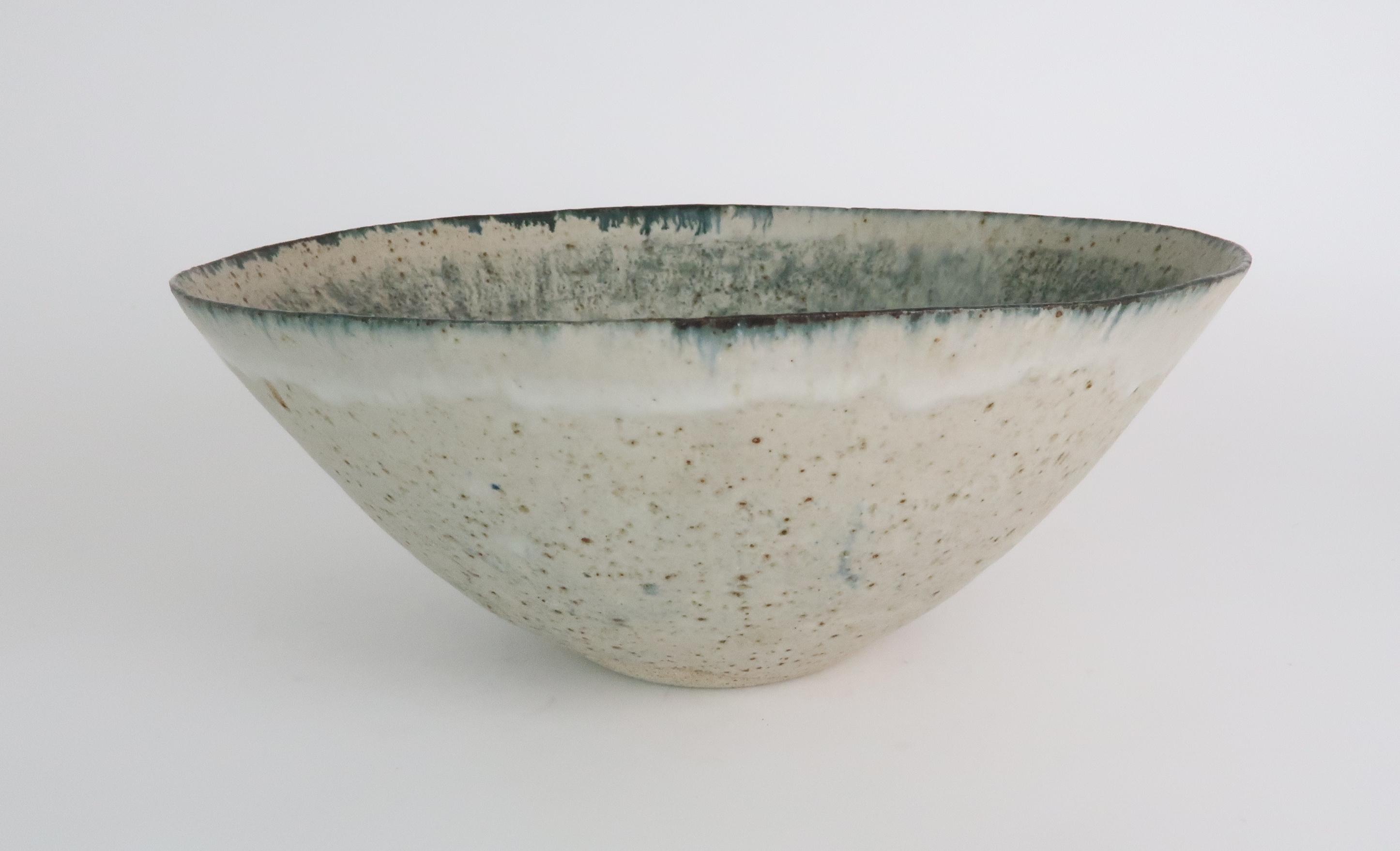 •BETTY BLANDINO (1927-2011) A stoneware bowl with slipware glaze, impressed mark to base, 32cm - Image 2 of 7