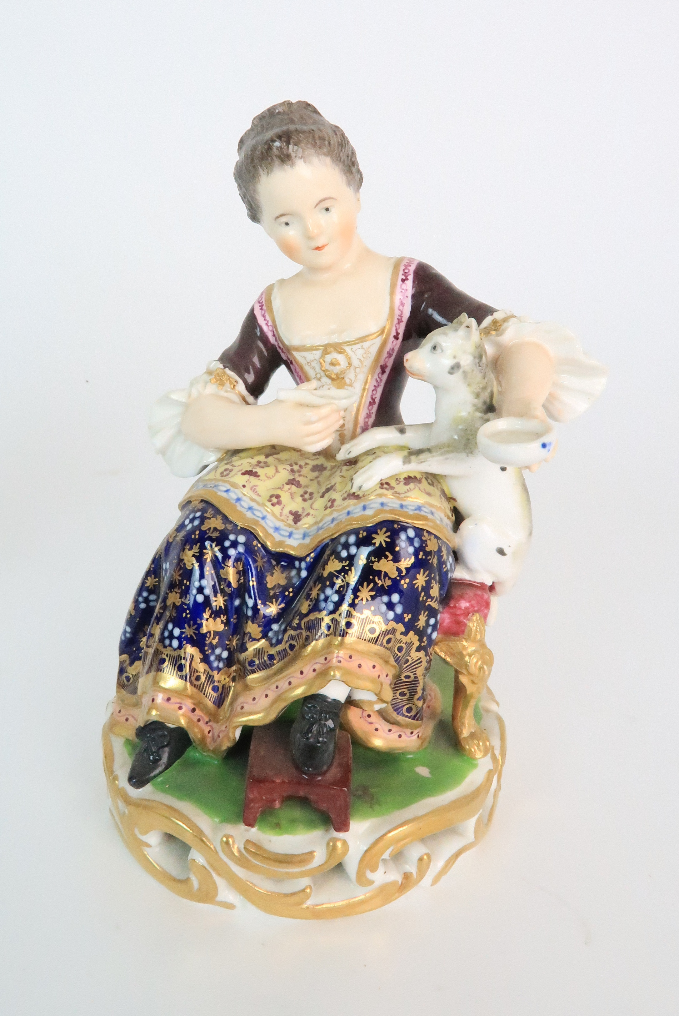 A PAIR OF DERBY PORCELAIN FIGURES early 19th century, modelled as a seated boy playing with a dog - Image 6 of 12