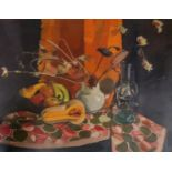 •NORMAN KIRKHAM RGI (SCOTTISH 1936-2021) STILL LIFE WITH FRUIT AND FLOWERS Oil on canvas, signed, 71