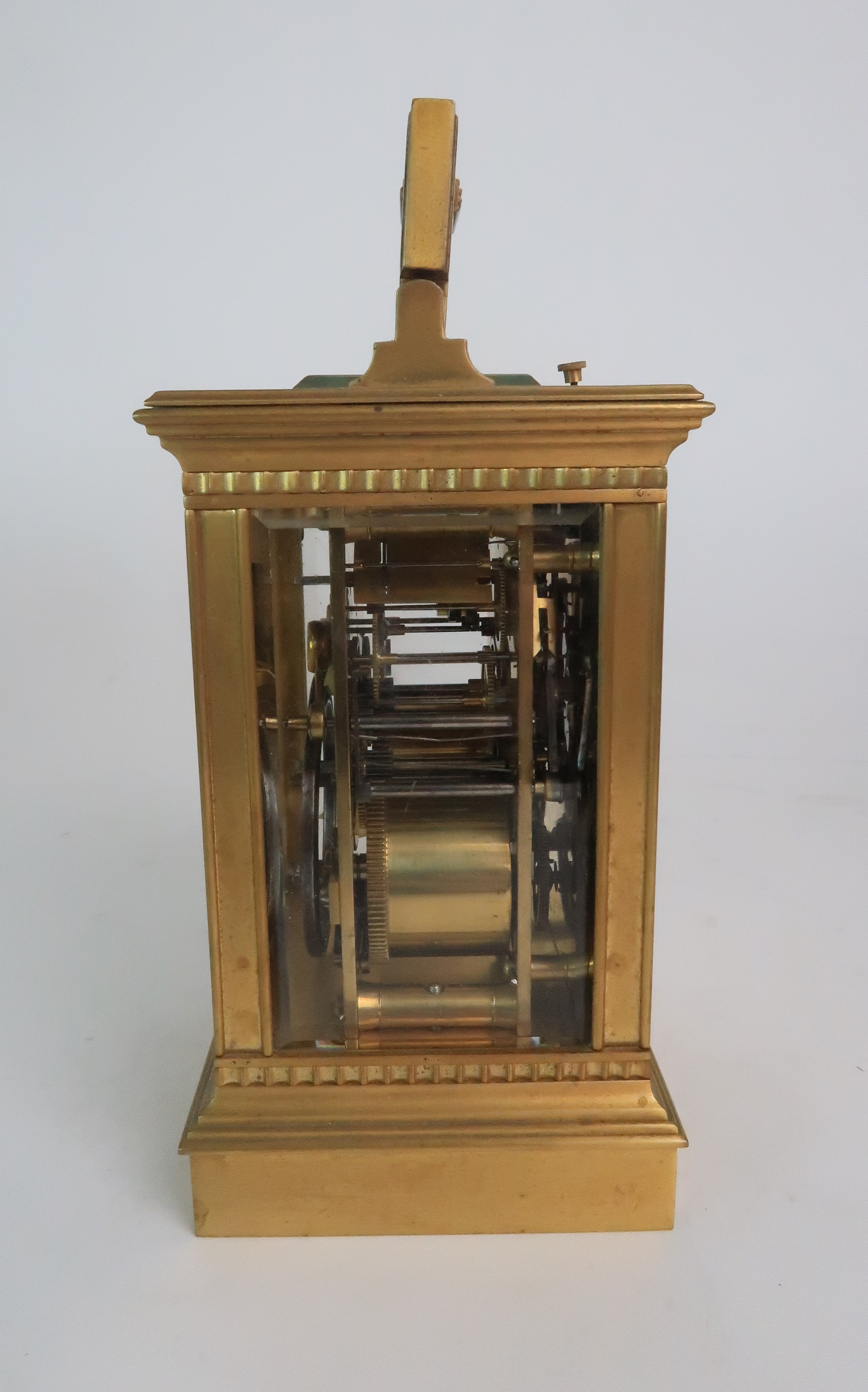 A FRENCH BRASS AND GLASS REPEATER CARRIAGE CLOCK the enamel dial with Roman numerals, with - Image 5 of 8