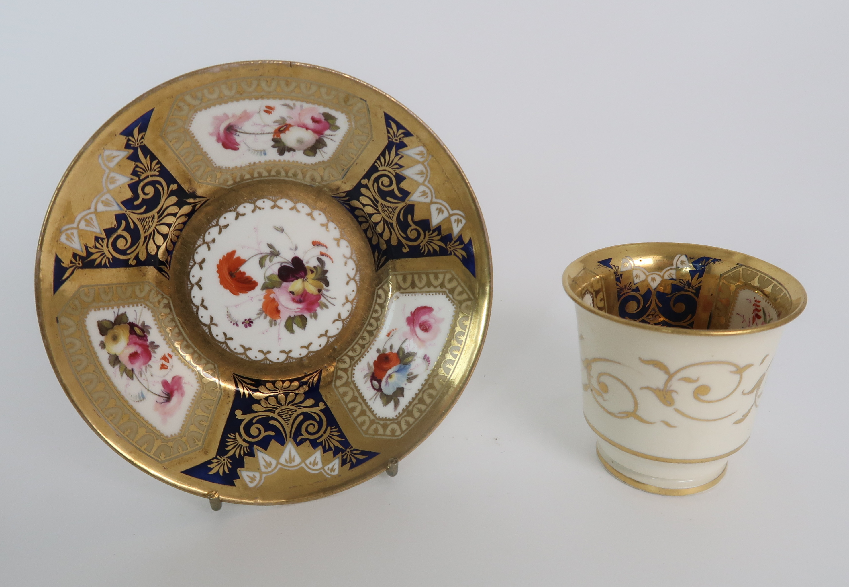 A COLLECTION OF 19TH CENTURY ENGLISH BLUE AND GILT DECORATED TEA AND COFFEE WARES including a - Image 9 of 23