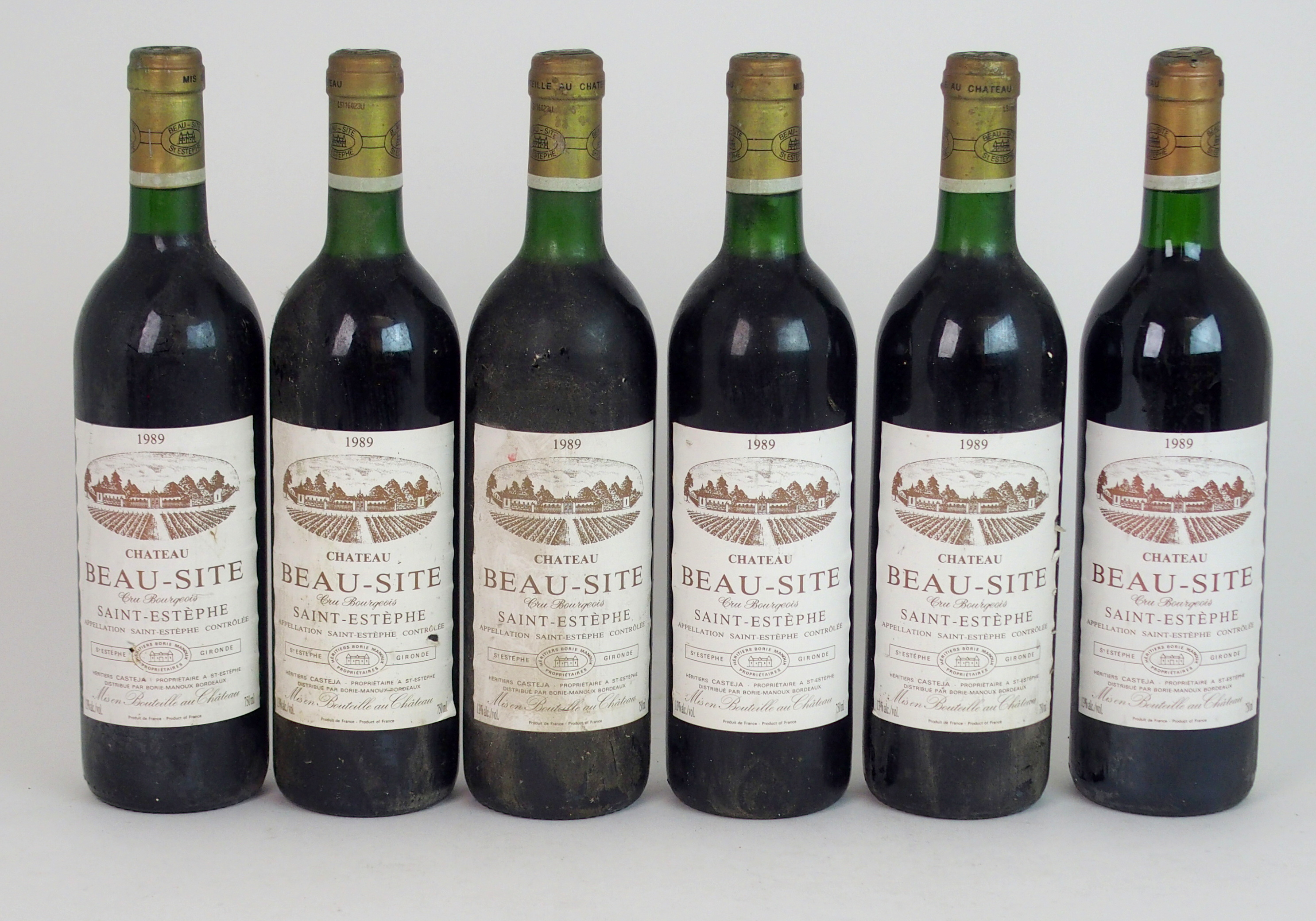 ELEVEN BOTTLES OF CHATEAU BEAU-SITE, SAINT ESTEPHE, 1989 13%vol, 750ml, labels stained and some torn