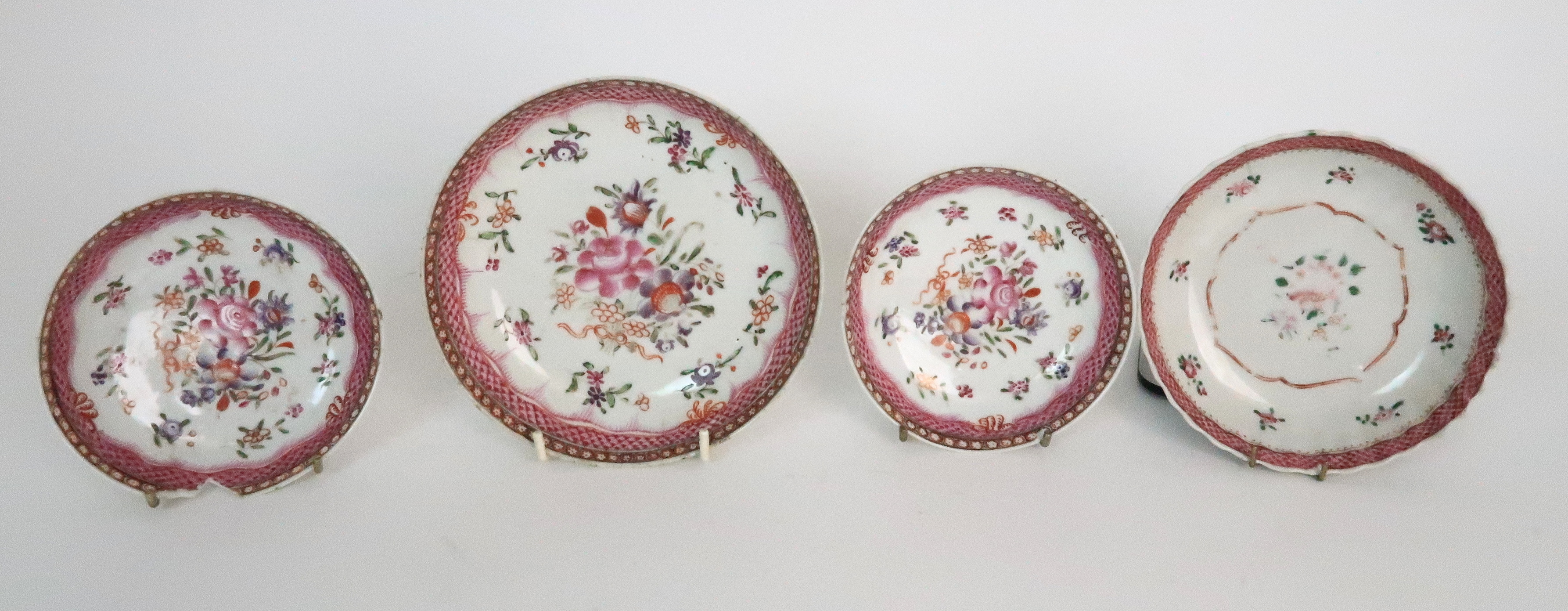 A COLLECTION OF TEA BOWLS AND SAUCERS each with pink scale and floral decoration including New Hall; - Image 2 of 12