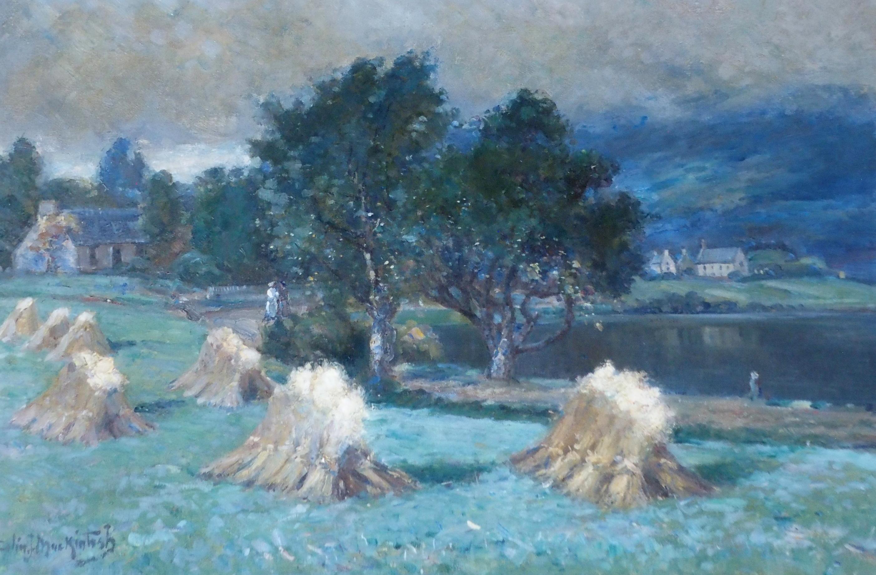COLIN JOHN MACKINTOSH (SCOTTISH 1866-1910) CORN STOOKS, LOCH ALVIE Oil on canvas, signed, 61 x 91.