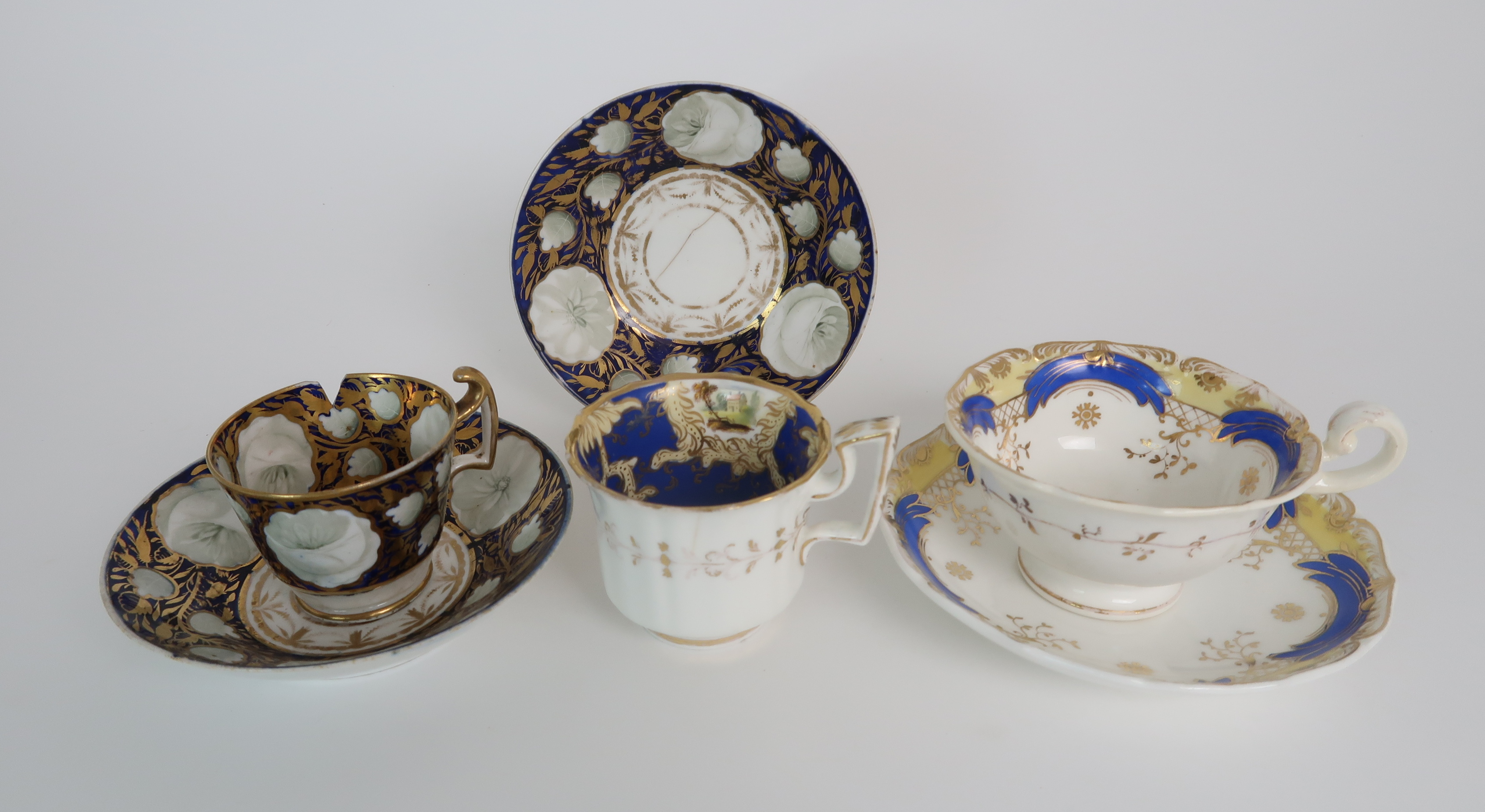 A COLLECTION OF 19TH CENTURY ENGLISH BLUE AND GILT DECORATED TEA AND COFFEE WARES including a - Image 18 of 23