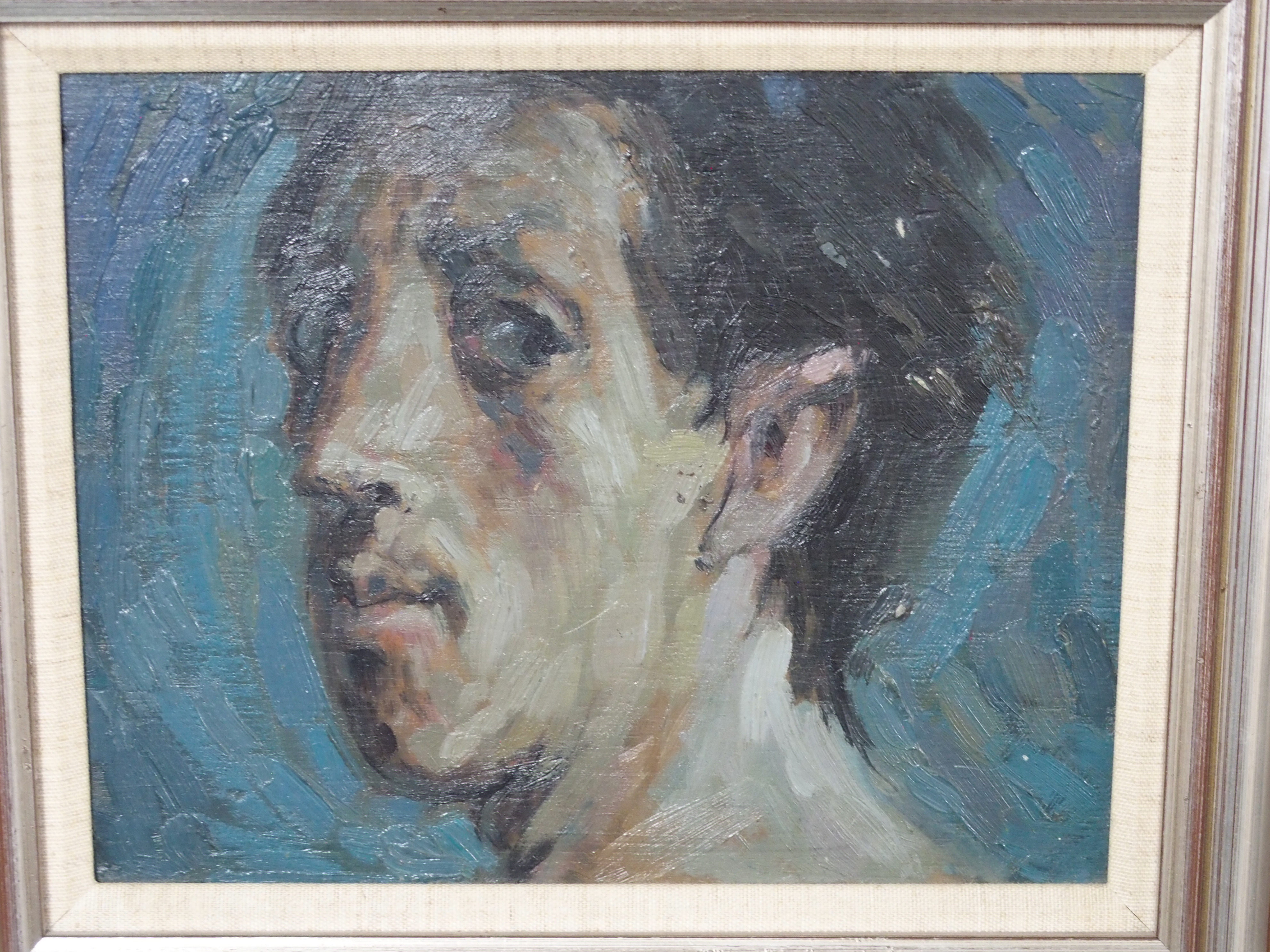 "•SCOTTISH SCHOOL (20TH CENTURY) MALE PORTRAIT HEAD STUDY Oil on panel, 20 x 25cm (8 x 9 3/4"")"