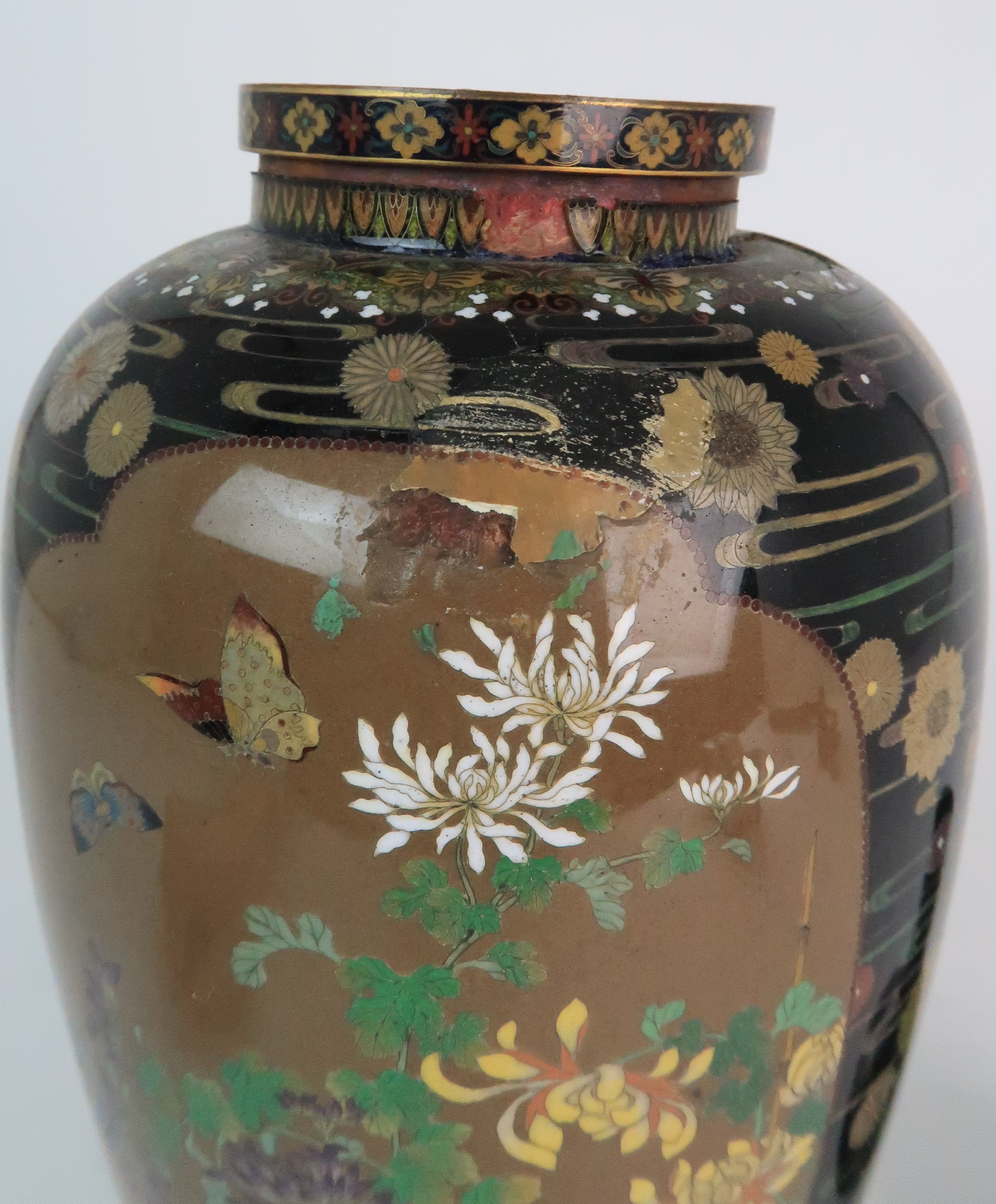 A JAPANESE CLOISONNE BALUSTER VASE finely decorated with panels of birds, butterflies, plants and - Image 3 of 15