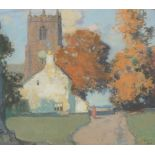 •STANLEY ROYLE (BRITISH 1888-1961) GIRL IN AUTUMN SUNSHINE Pastel, signed and dated 1928, 21 x