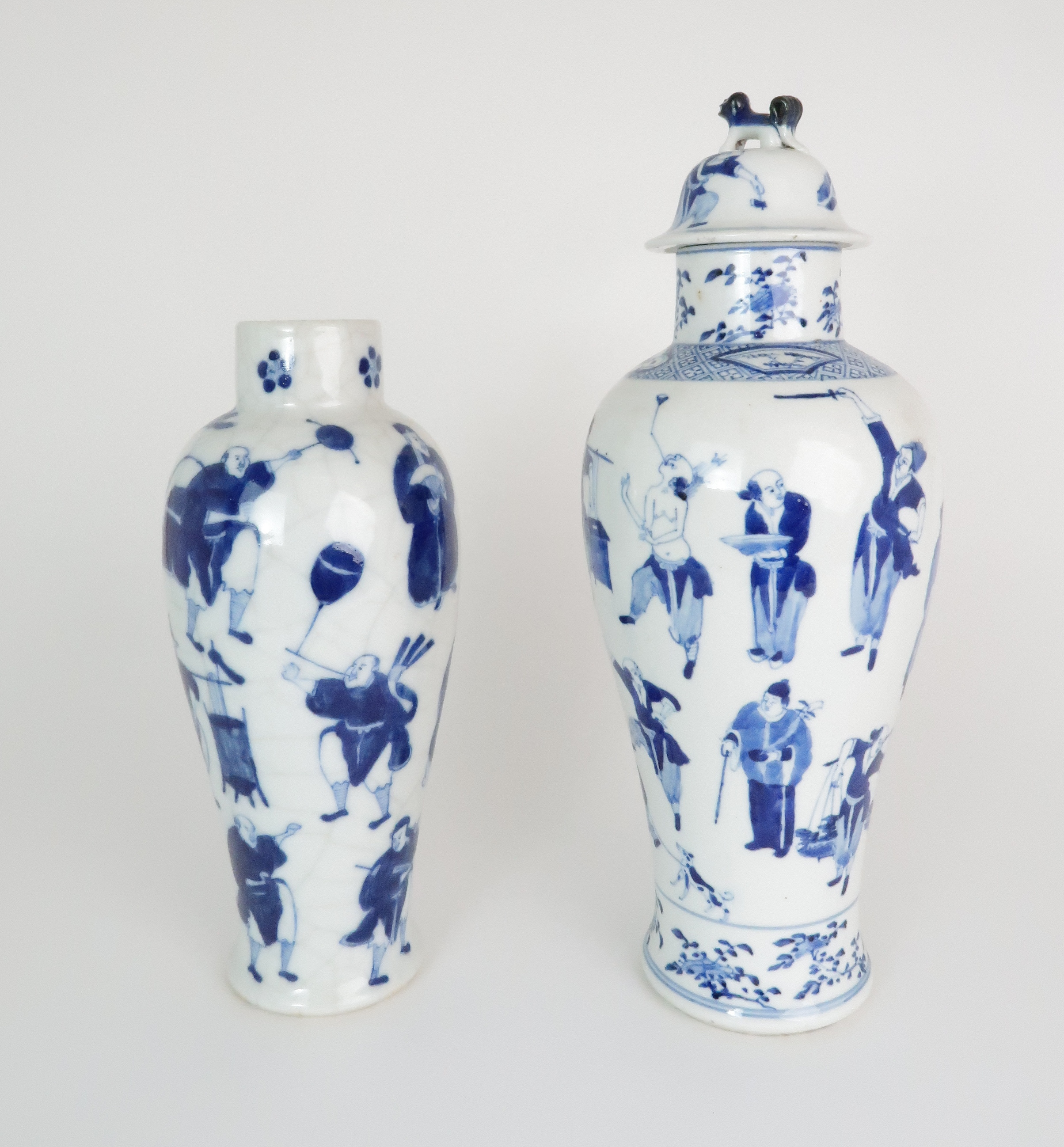 A CHINESE BLUE AND WHITE BALUSTER VASE AND COVER painted with numerous figures within foliate - Image 3 of 19