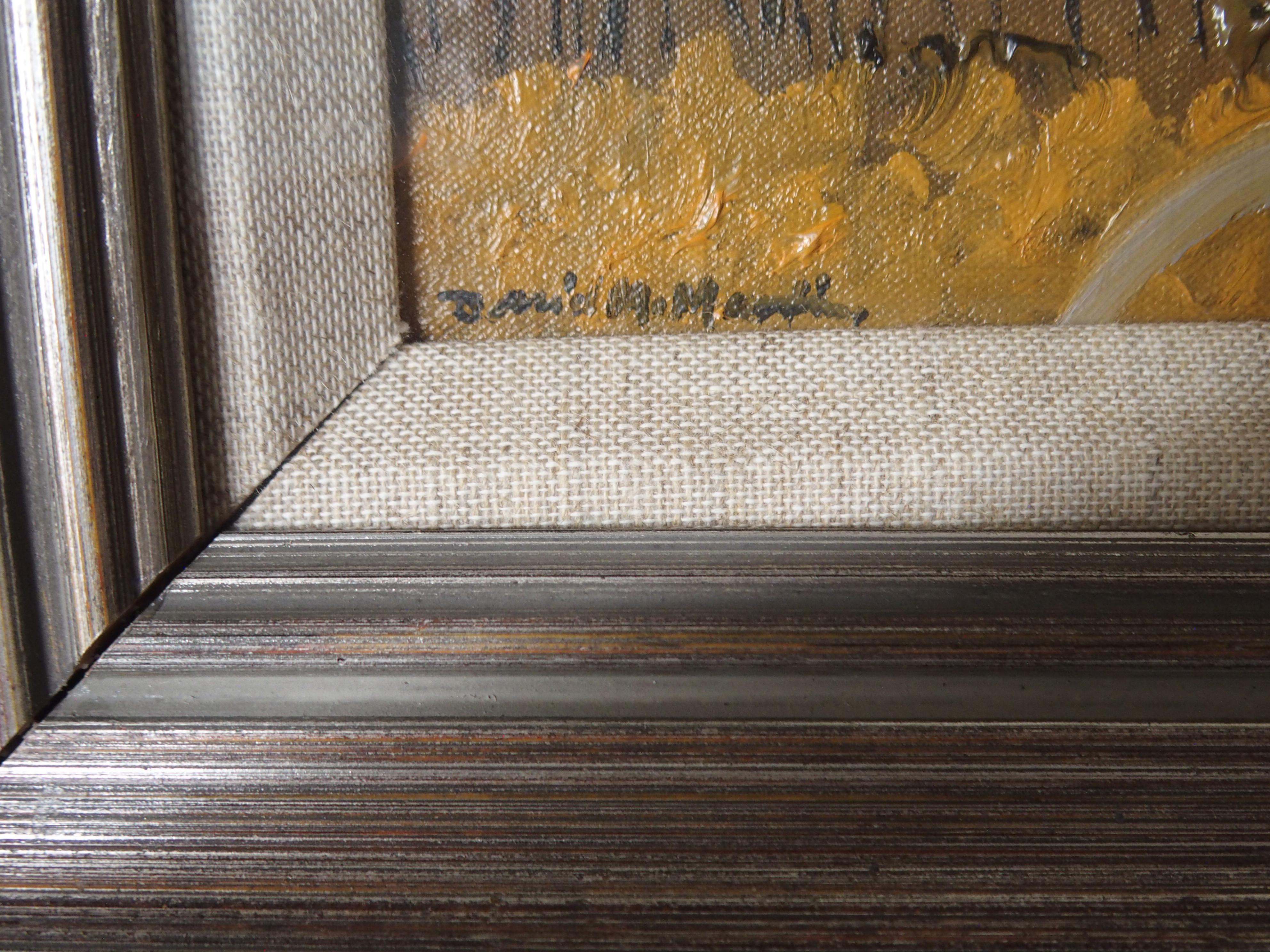 •DAVID M MARTIN RSW, RGI (SCOTTISH 1922-2018) BORDERS HILLSIDE Oil on canvas board, signed, 14 x - Image 3 of 5