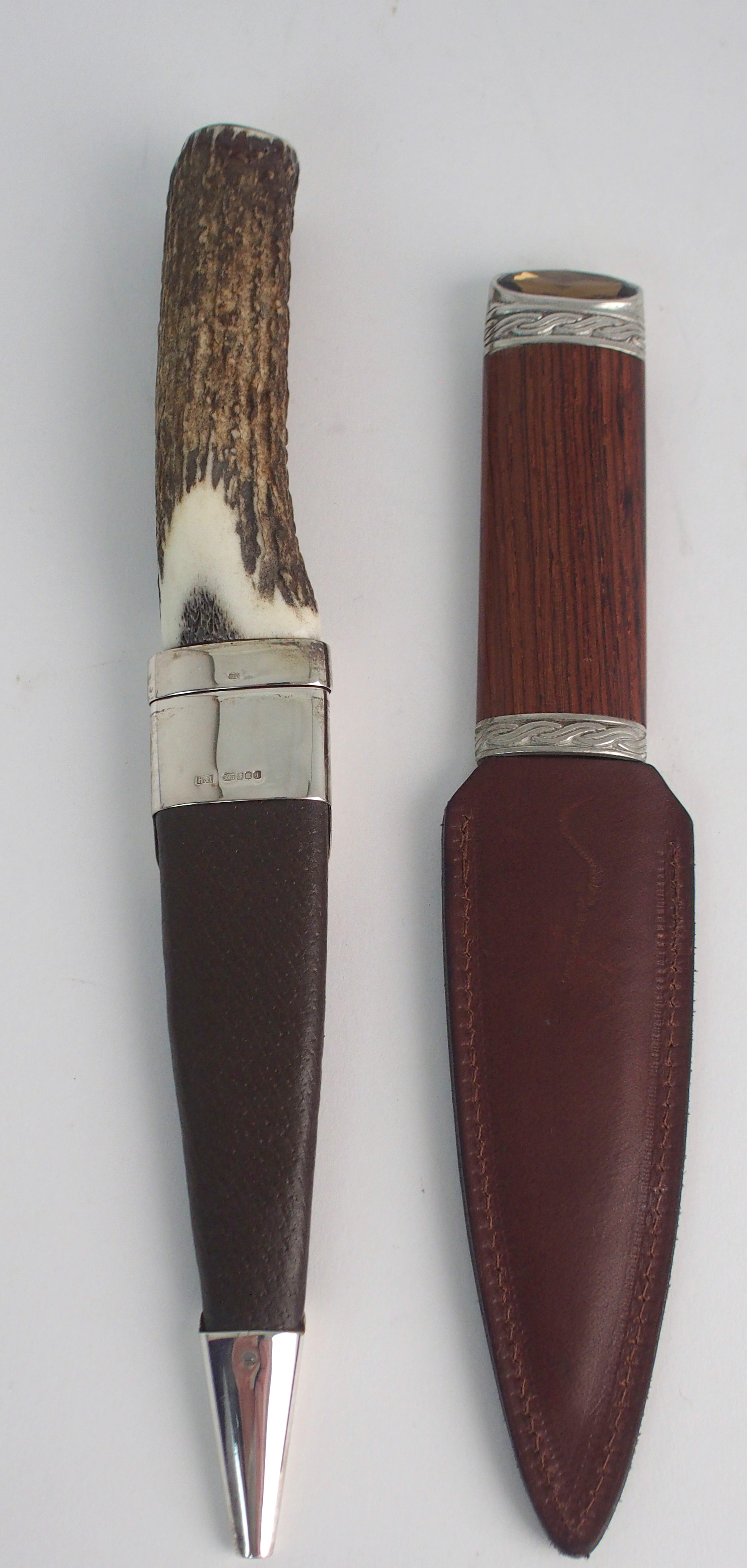 A SILVER-MOUNTED SGIAN DUBH BY HAMILTON & INCHES with brown goatskin scabbard and stag antler handle - Image 2 of 4