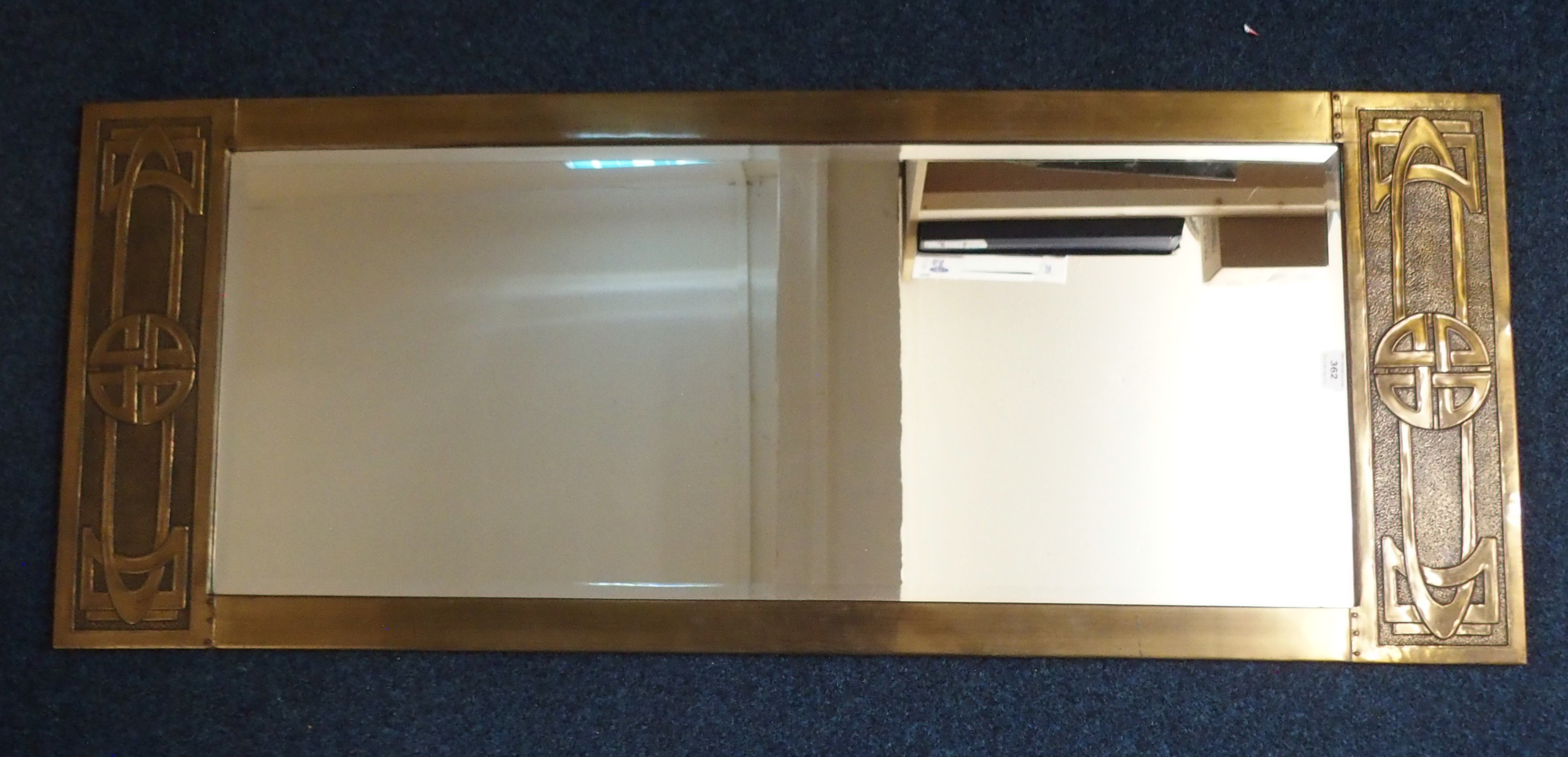 A GLASGOW SCHOOL STYLE BRASS FRAMED MIRROR of rectangular shape with knotwork decoration, 54cm x - Image 5 of 5