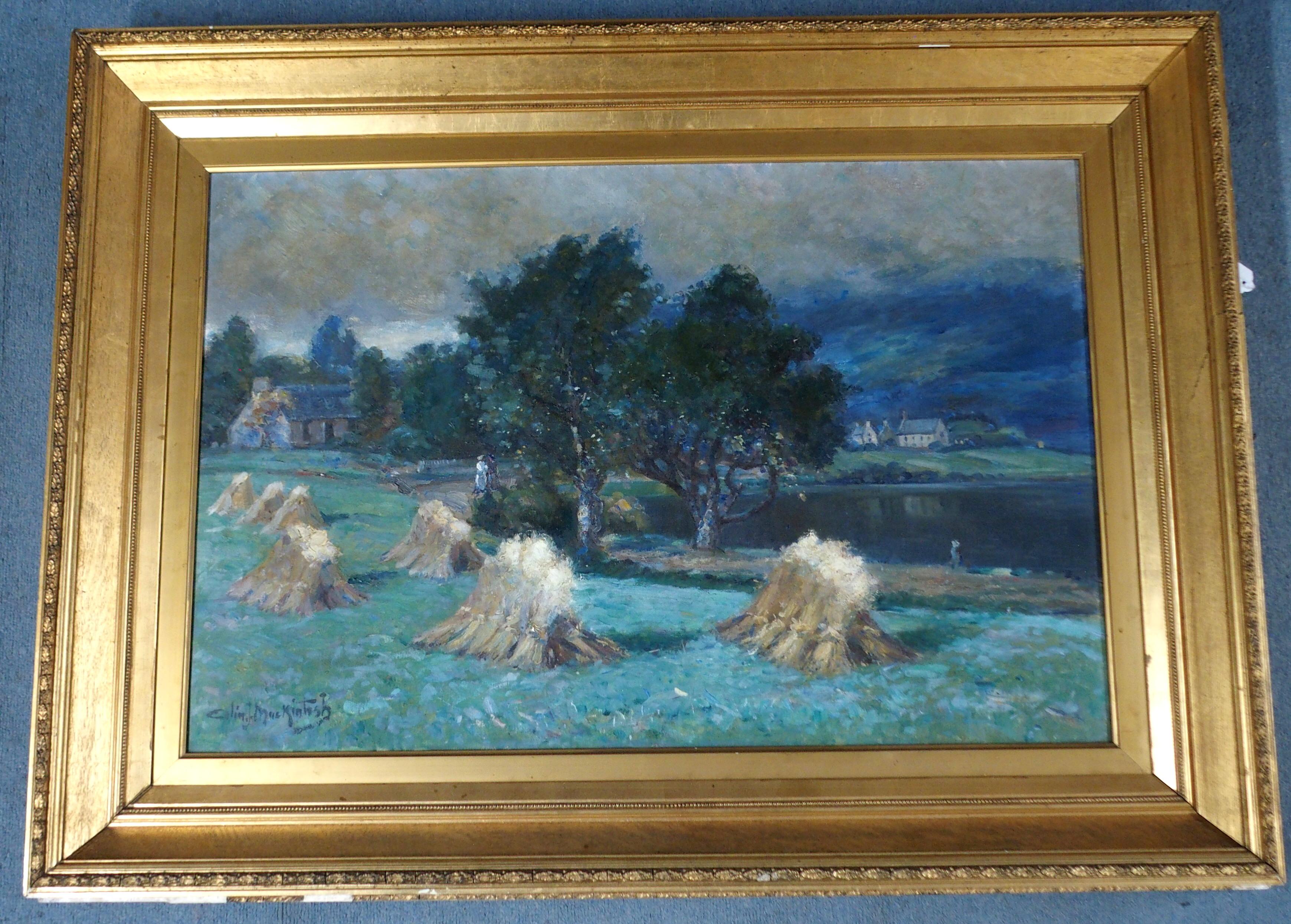 COLIN JOHN MACKINTOSH (SCOTTISH 1866-1910) CORN STOOKS, LOCH ALVIE Oil on canvas, signed, 61 x 91. - Image 2 of 6