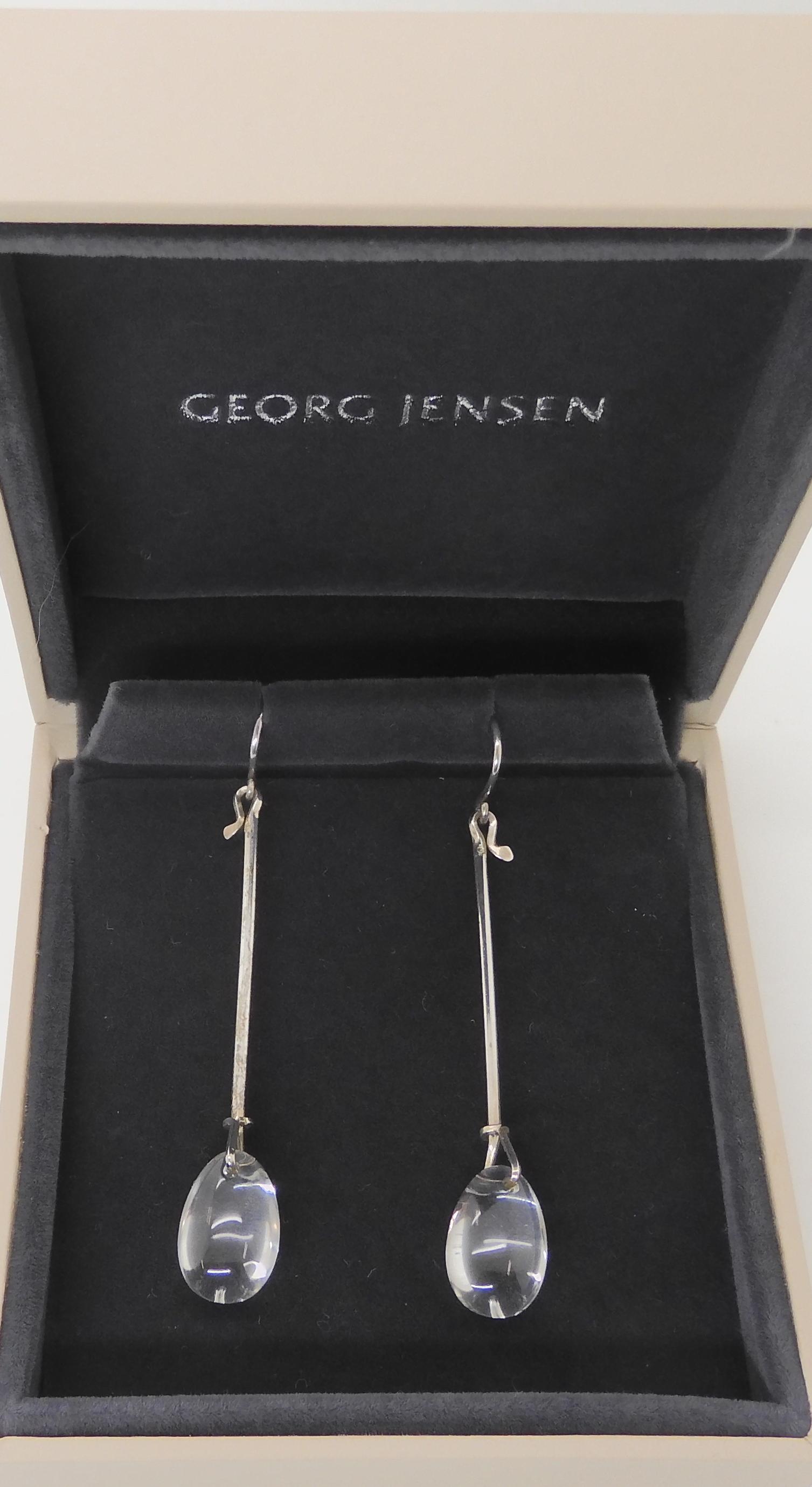 A PAIR OF GEORG JENSEN CRYSTAL DEW DROP EARRINGS designed by Vivianna Torun Bulow-Hube for Jensen.