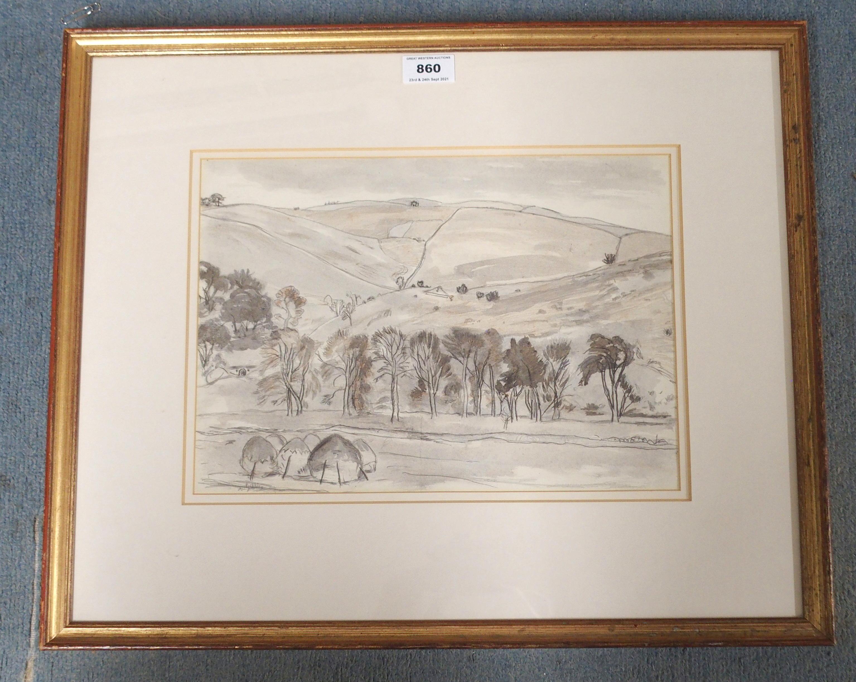 •SIR WILLIAM GEORGE GILLIES CBE, LLD, RA, RSA, PRSW (SCOTTISH 1898-1973) ABOVE LYNE VALLEY Pencil - Image 2 of 5