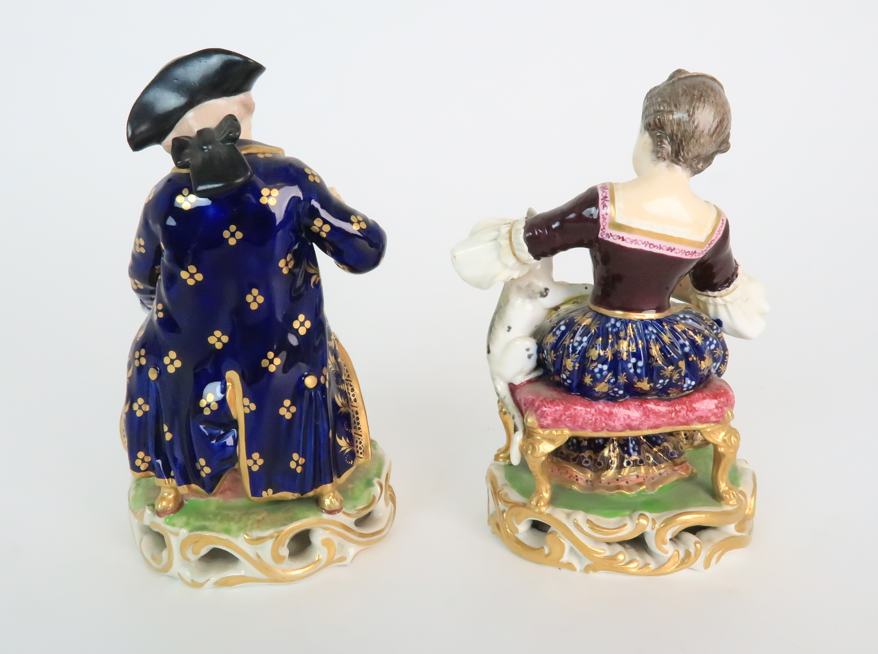 A PAIR OF DERBY PORCELAIN FIGURES early 19th century, modelled as a seated boy playing with a dog - Image 3 of 12