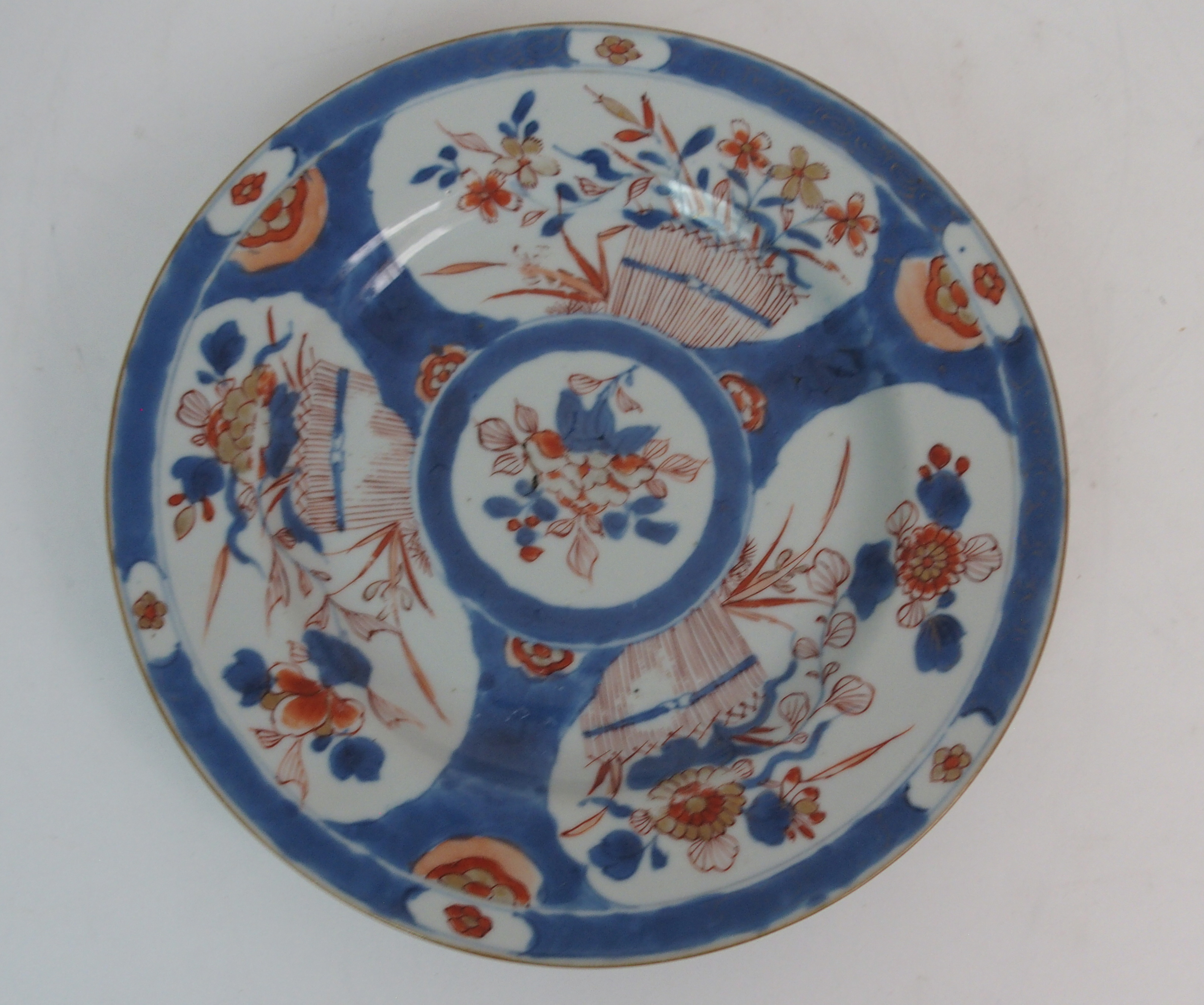 FIVE CHINESE EXPORT PLATES comprising; floral sprays, 22.5cm, Canton figures and precious objects, - Image 6 of 11