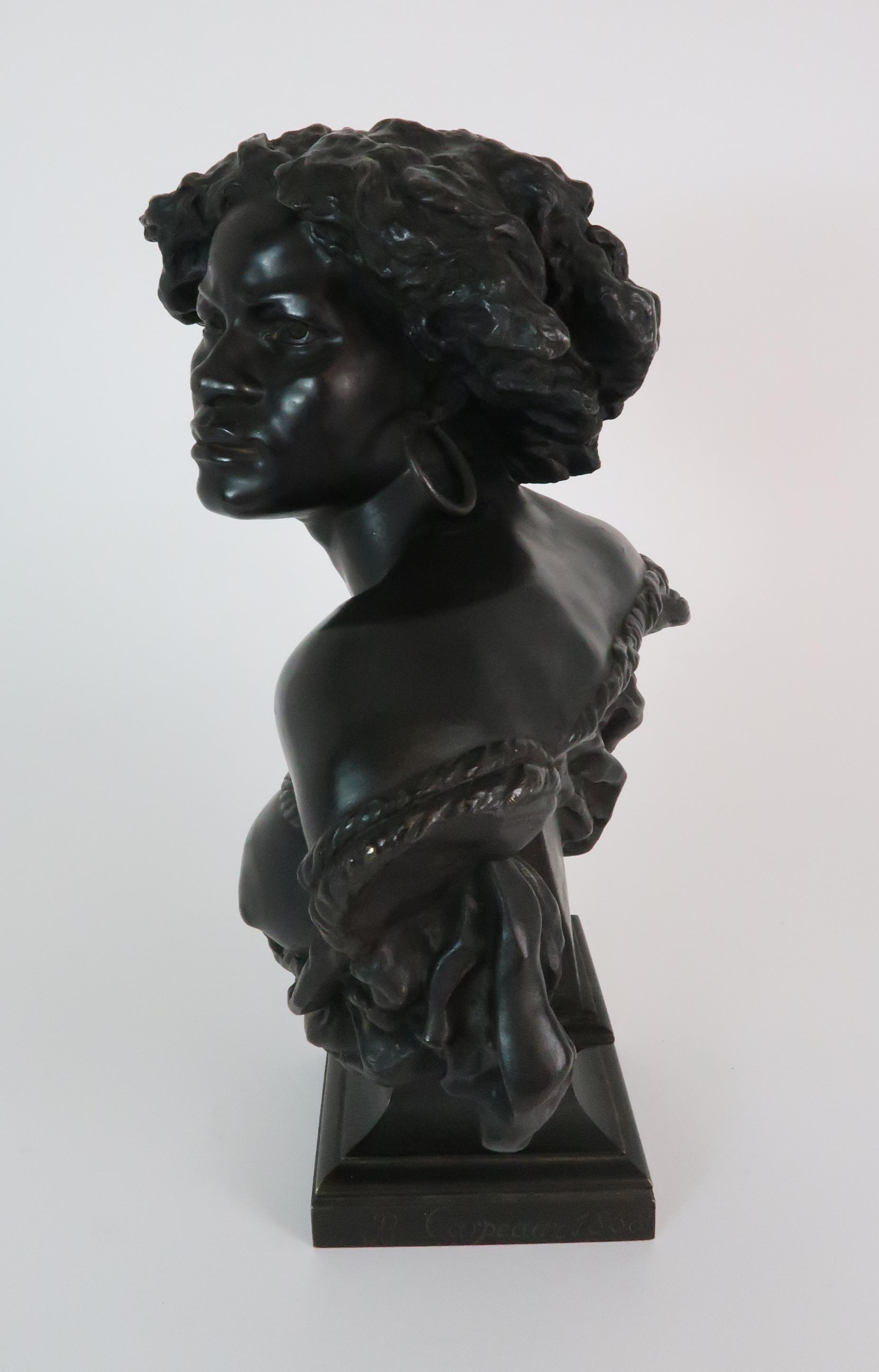 AFTER JEAN-BAPTISTE CARPEAUX (FRENCH 1827-1875) - POUR QUOINAITRE ESCLAVE a bronze bust of a - Image 2 of 7
