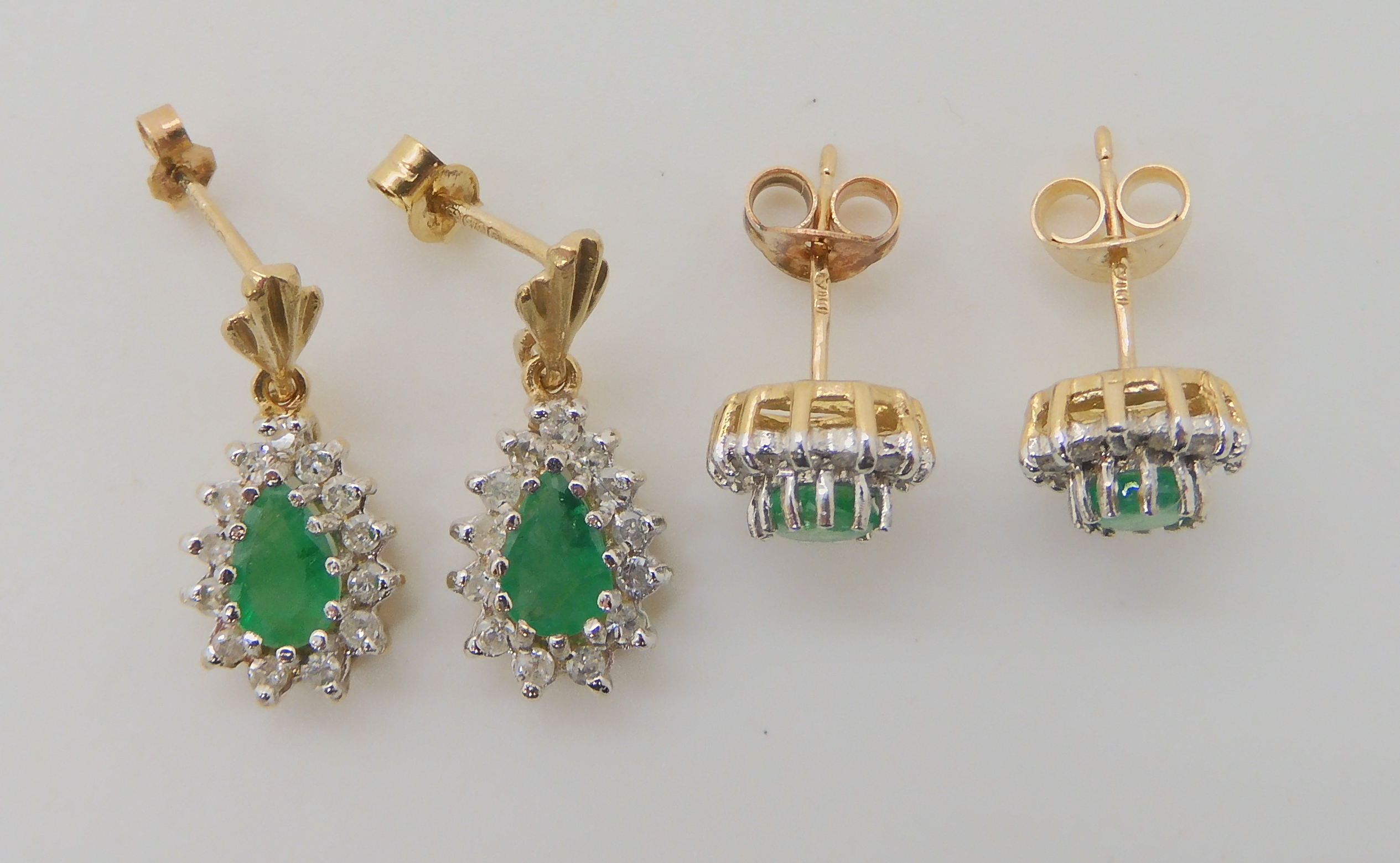 TWO PAIRS OF EMERALD AND DIAMOND EARRINGS pear shaped emerald and diamond drop earrings, set with - Image 3 of 4