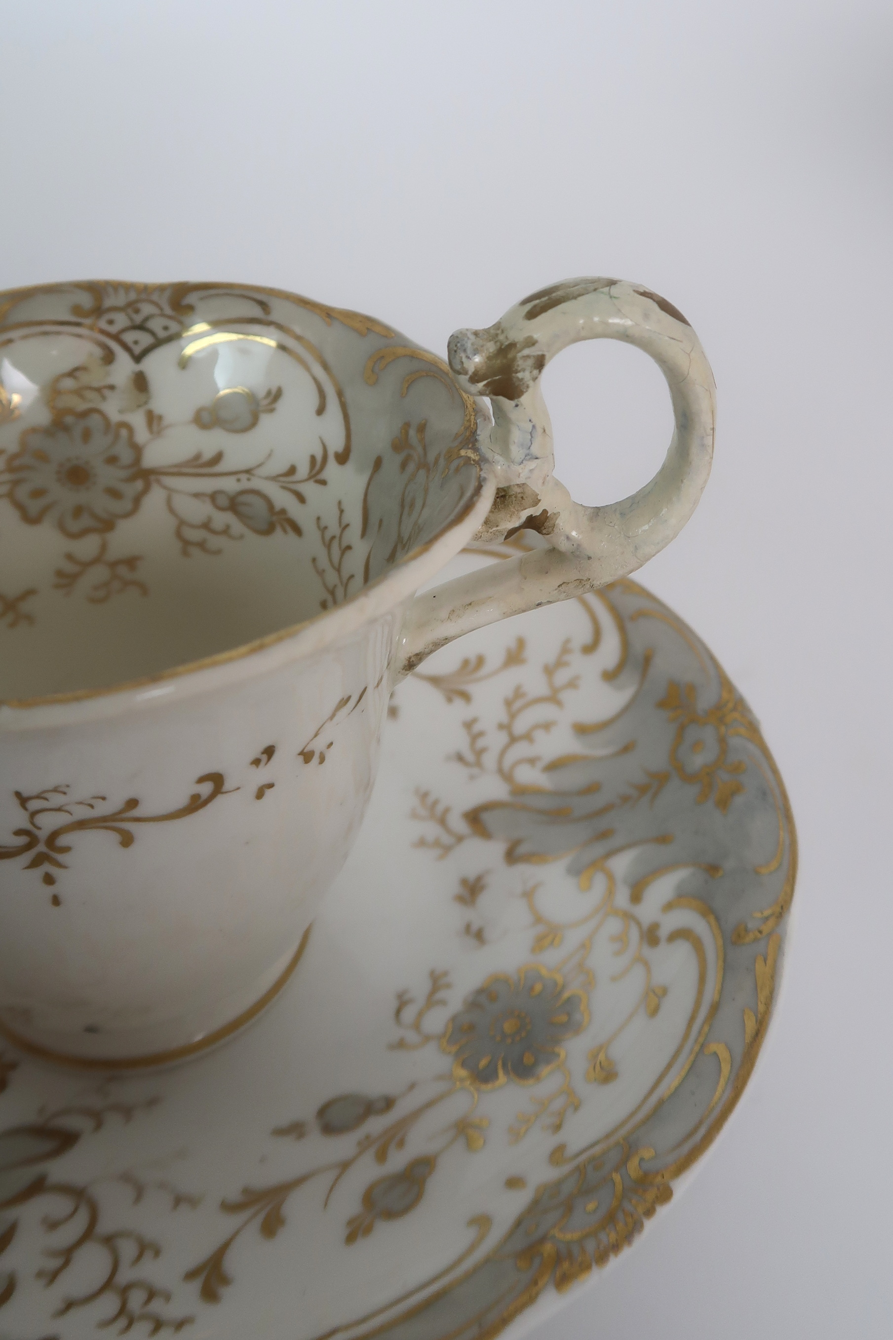 A COLLECTION OF 19TH CENTURY ENGLISH TEA AND COFFEE WARES the white ground with either grey and gilt - Image 17 of 22