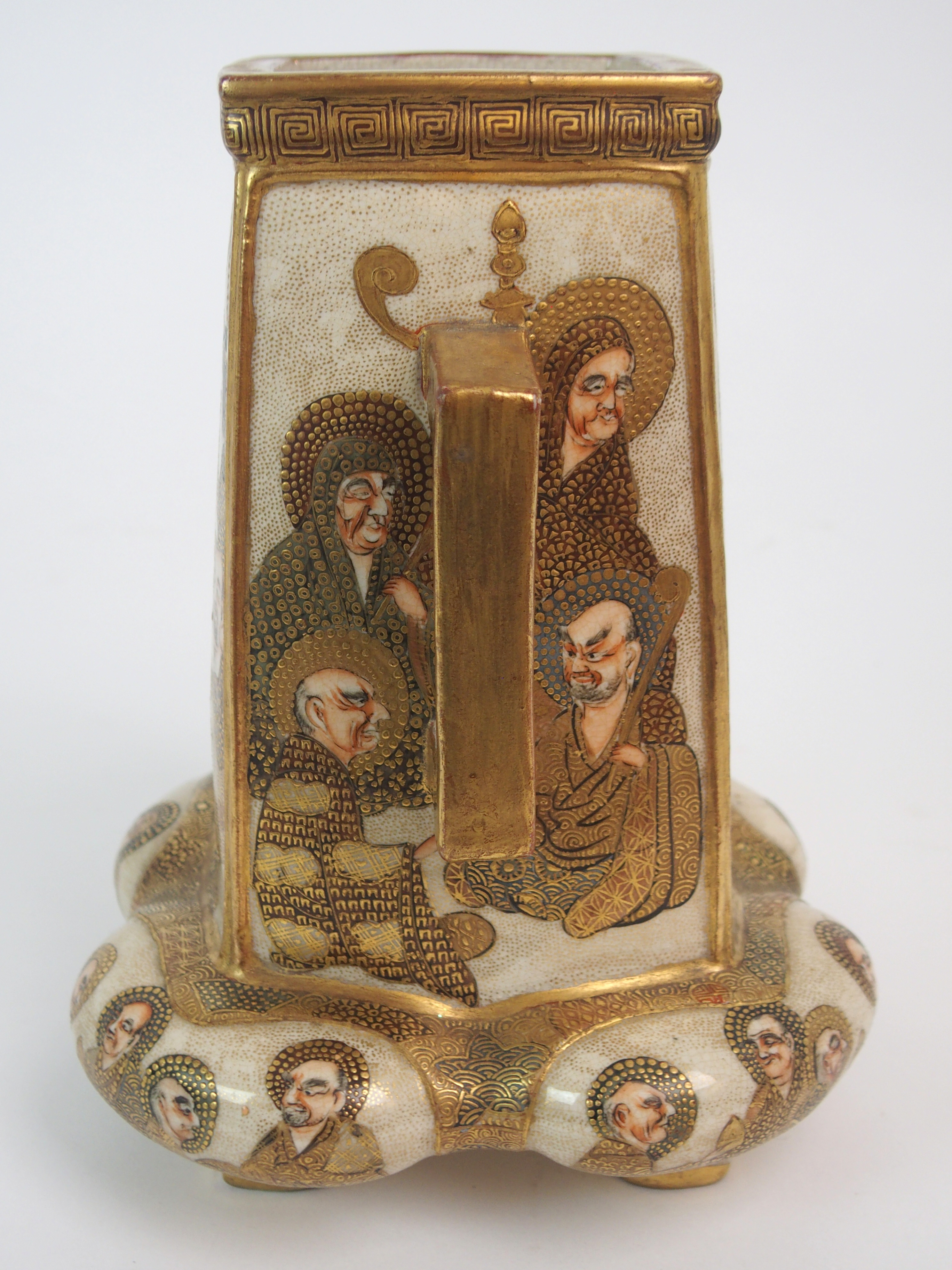 A SATSUMA SQUARE TAPERING TWO HANDLED VASE painted with mythical gods on a gilt ground, beneath - Image 6 of 9
