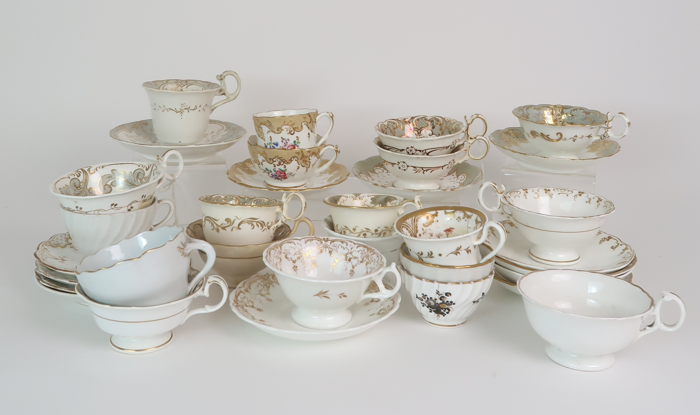 A COLLECTION OF 19TH CENTURY ENGLISH TEA AND COFFEE WARES the white ground with either grey and gilt - Image 15 of 22
